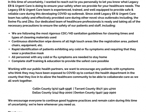 Legacy ER & Urgent Care Founder Speaks Out About COVID-19 Outbreak