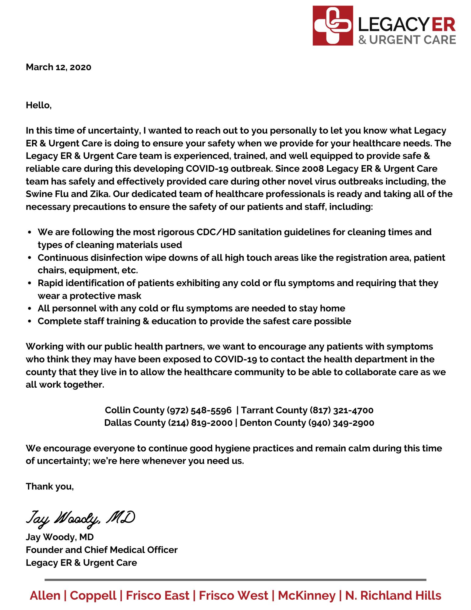 COVID-19 Legacy ER & Urgent Care Update